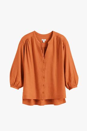 Linen Button Front Blouse