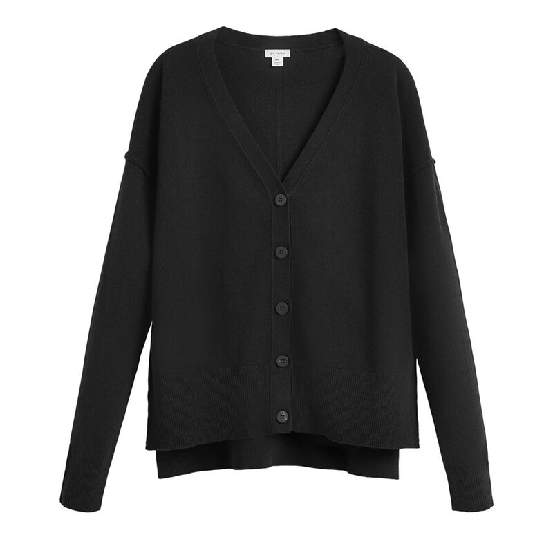 Wool Cashmere Cardigan in Black