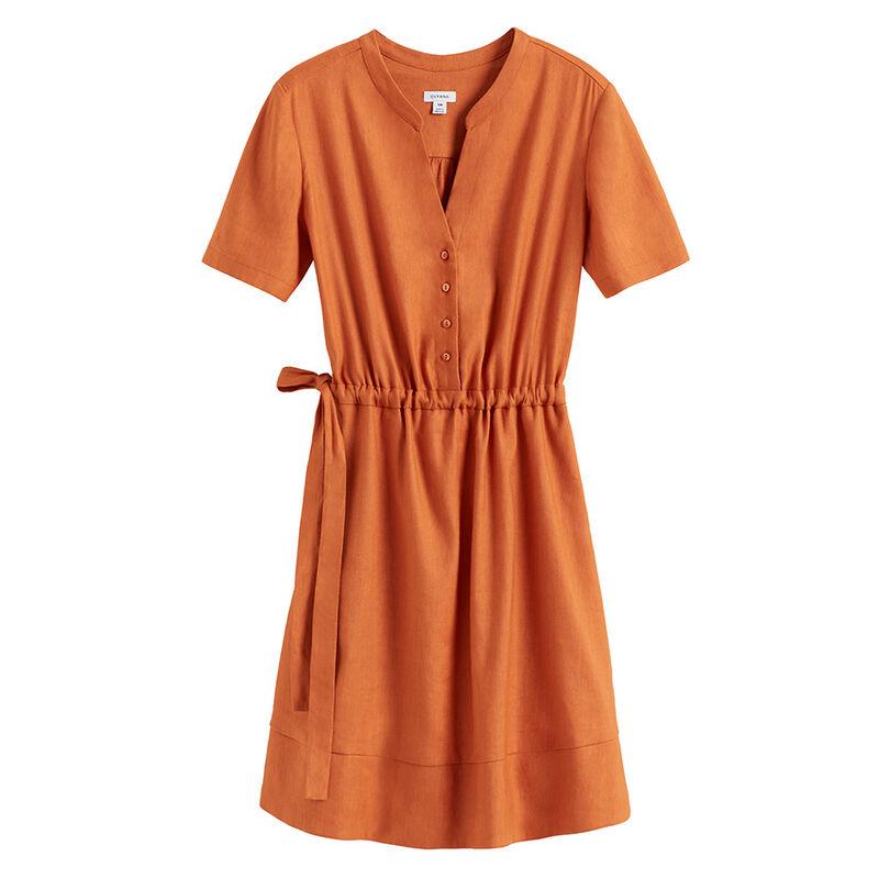 Linen Shirt Dress in Burnt Orange