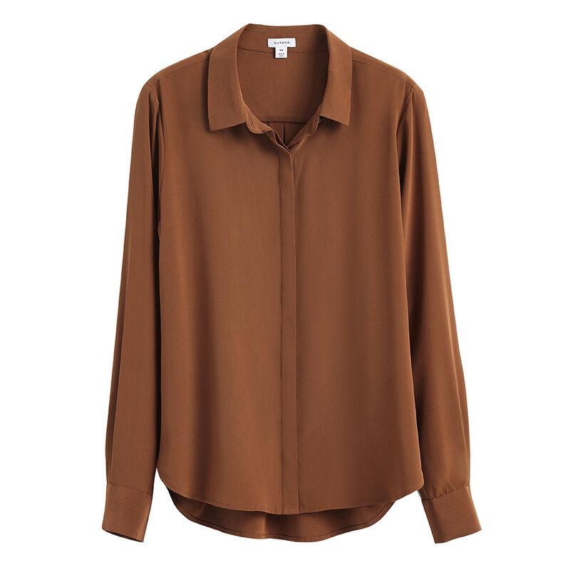 Silk Button Down Shirt in Chestnut