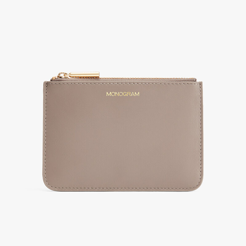 Slim Leather Pouch in Stone