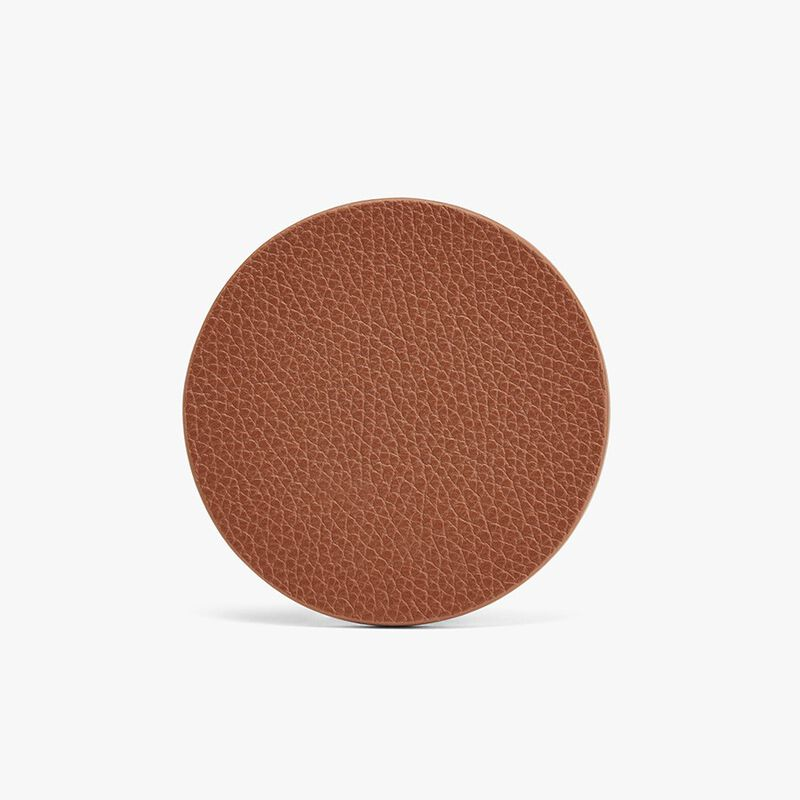Leather Coasters in Caramel/Red