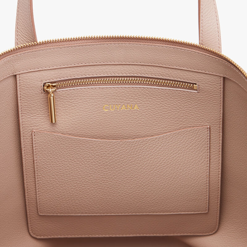 Classic Leather Zipper Tote in Soft Rose - Painted