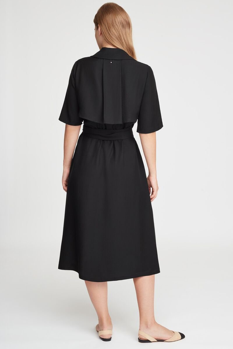Trench Wrap Dress in Black