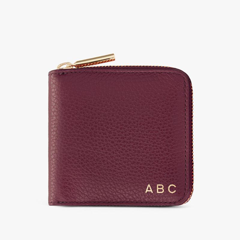 Small Classic Zip Around Wallet in Merlot