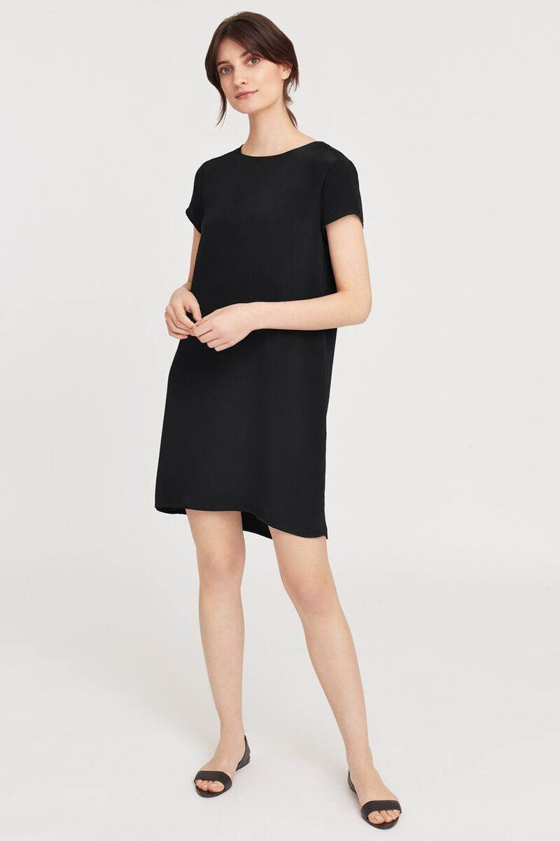 Silk Tee Dress in Black
