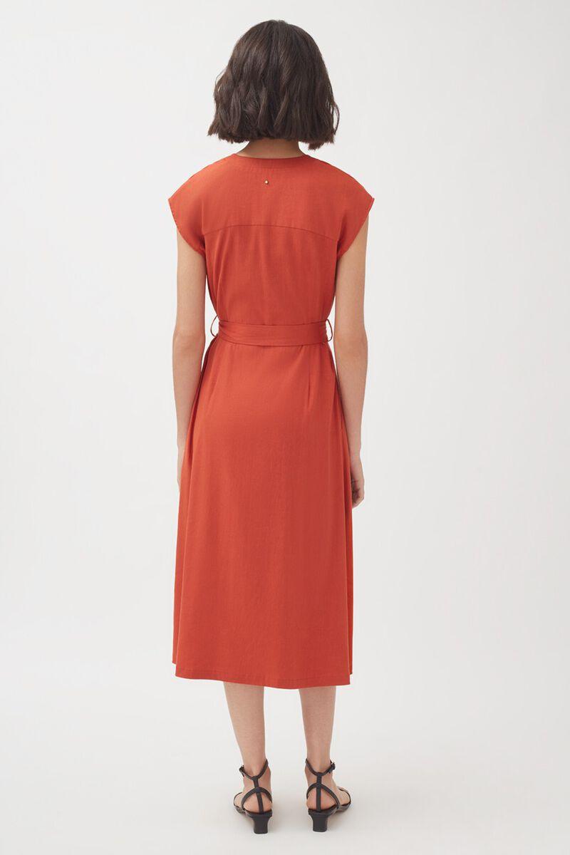 Linen Button Front Dress in Blood Orange