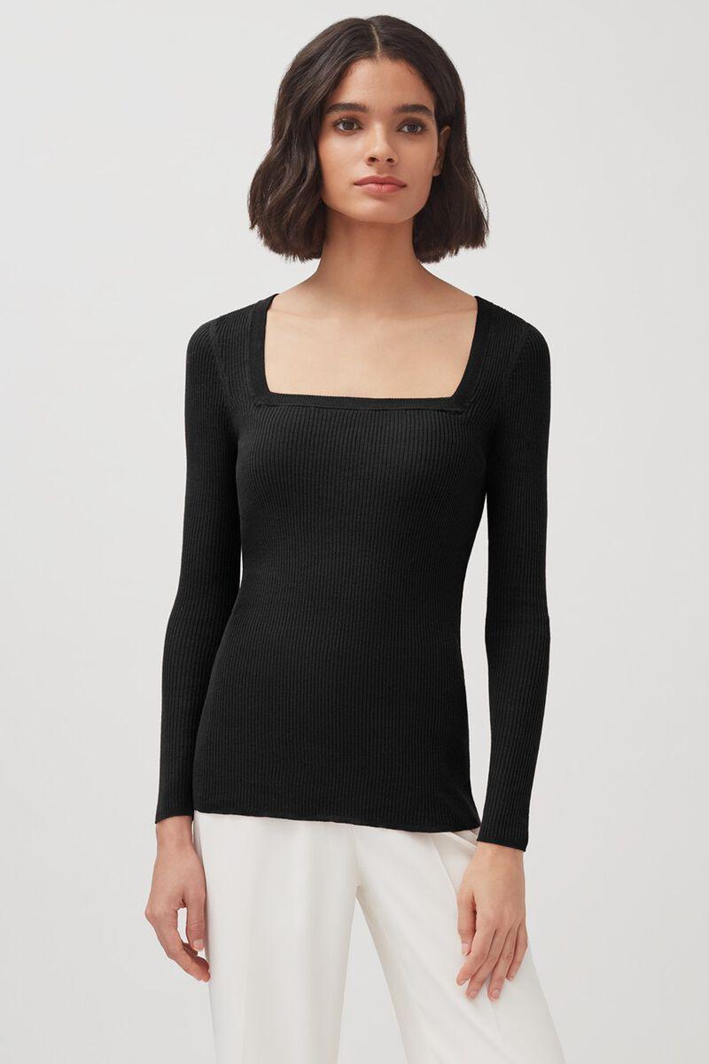 Cotton Cashmere Square Neck Rib Sweater in Black