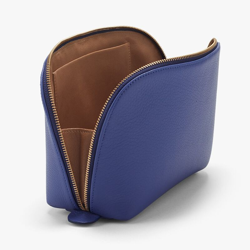 Leather Travel Case Set in Sapphire