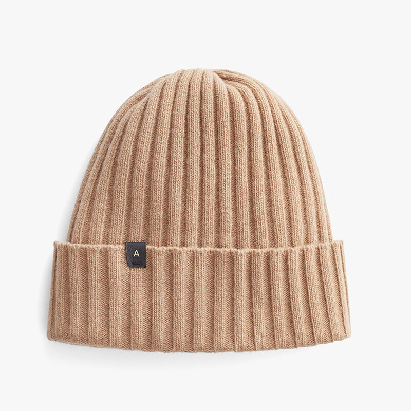 Men's Wool Cashmere Ribbed Beanie in Camel