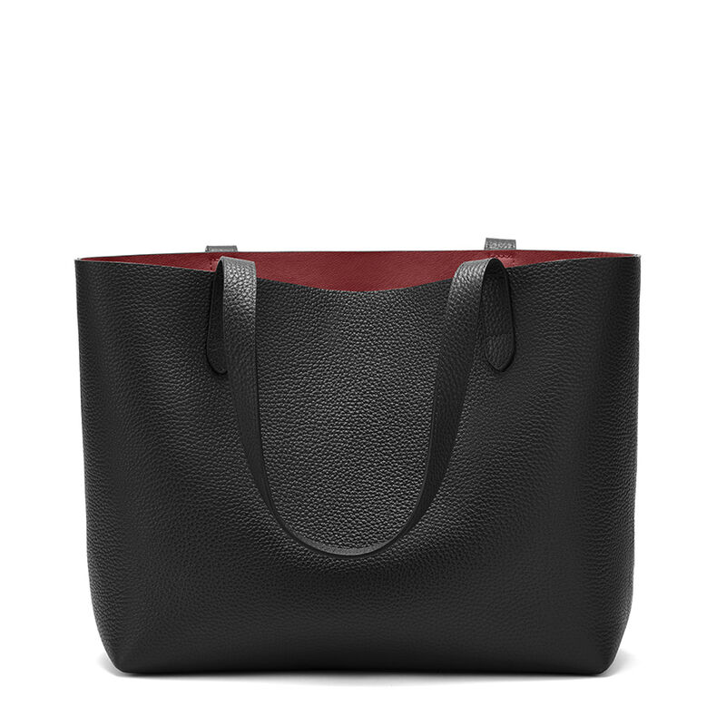 Small Structured Leather Tote in Black/Ruby