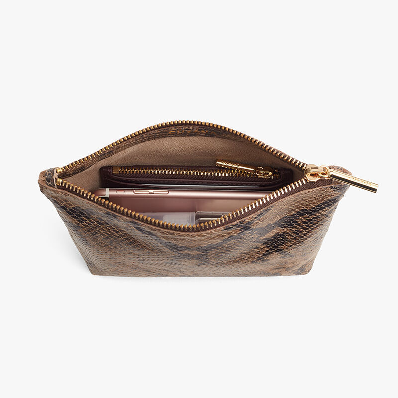Mini Leather Zipper Pouch in Brown Snake