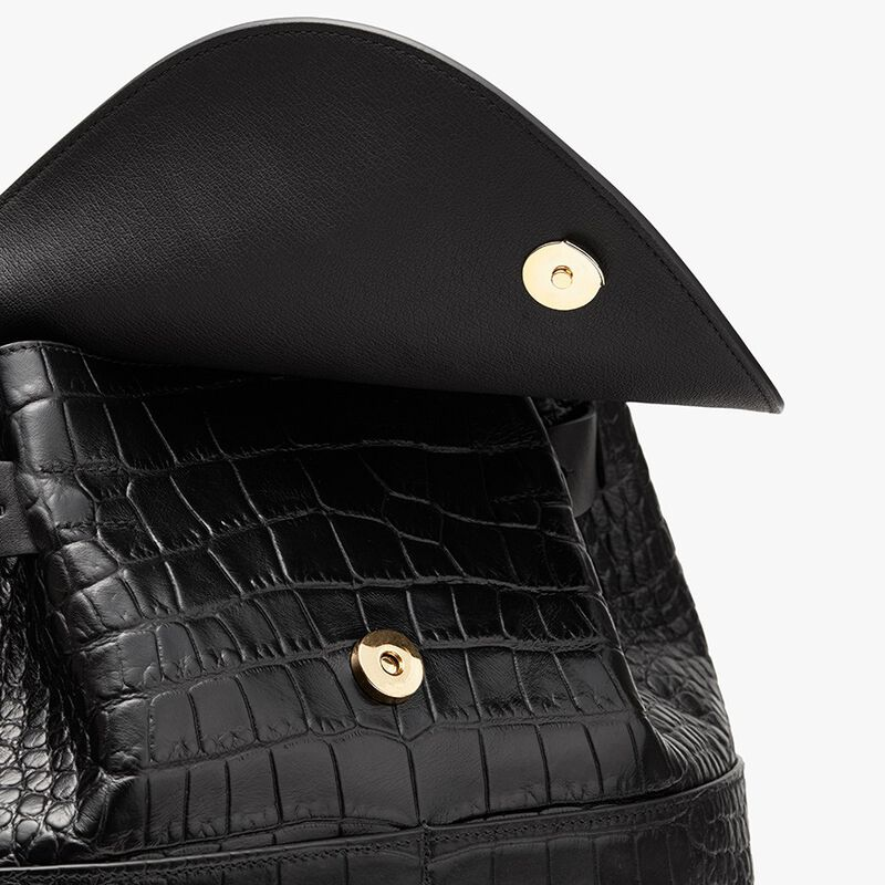 Leather Backpack in Textured Black