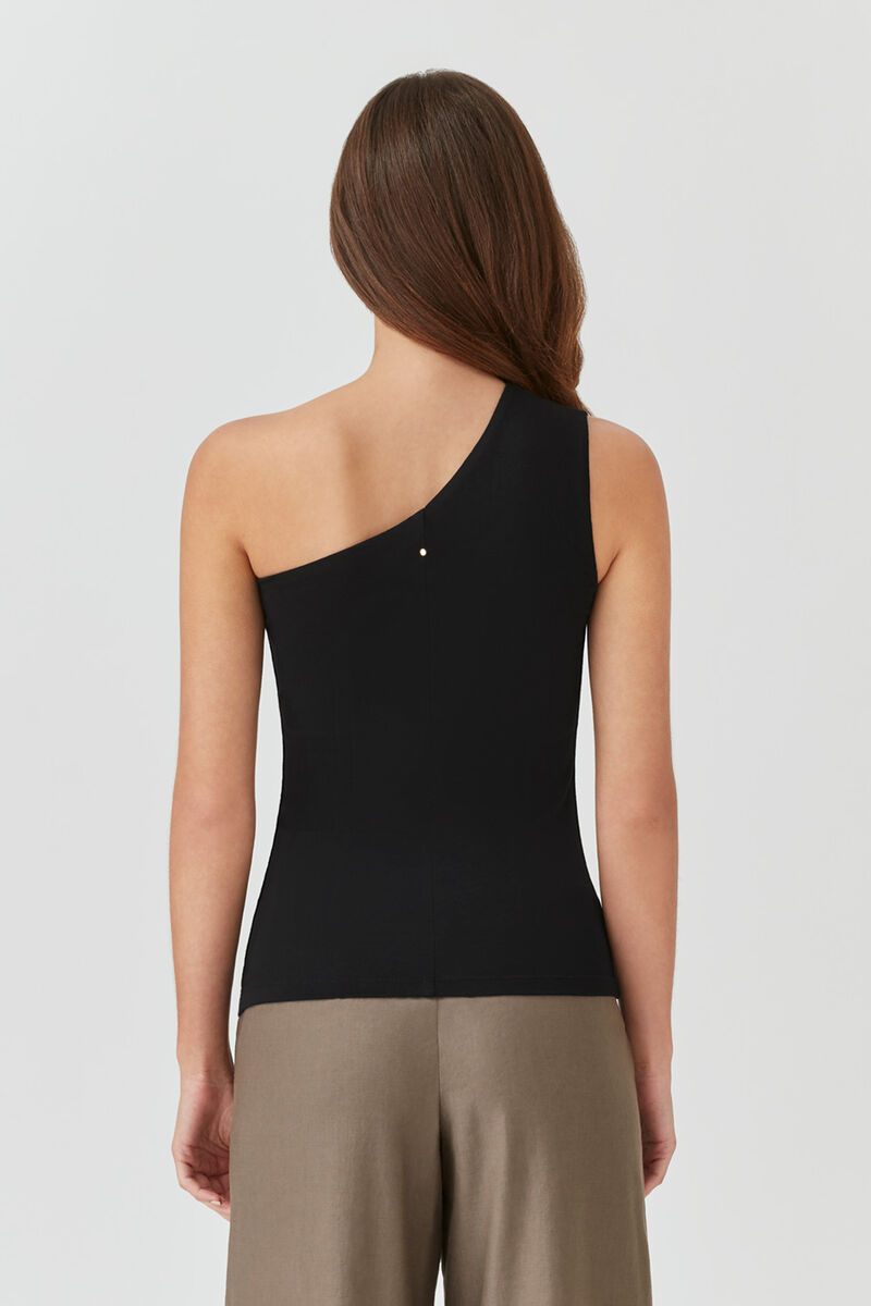 Slim One-Shoulder Top in Black