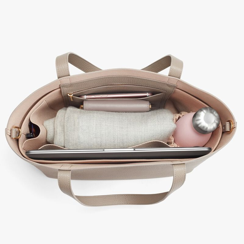Small Structured Leather Tote in Stone/Blush