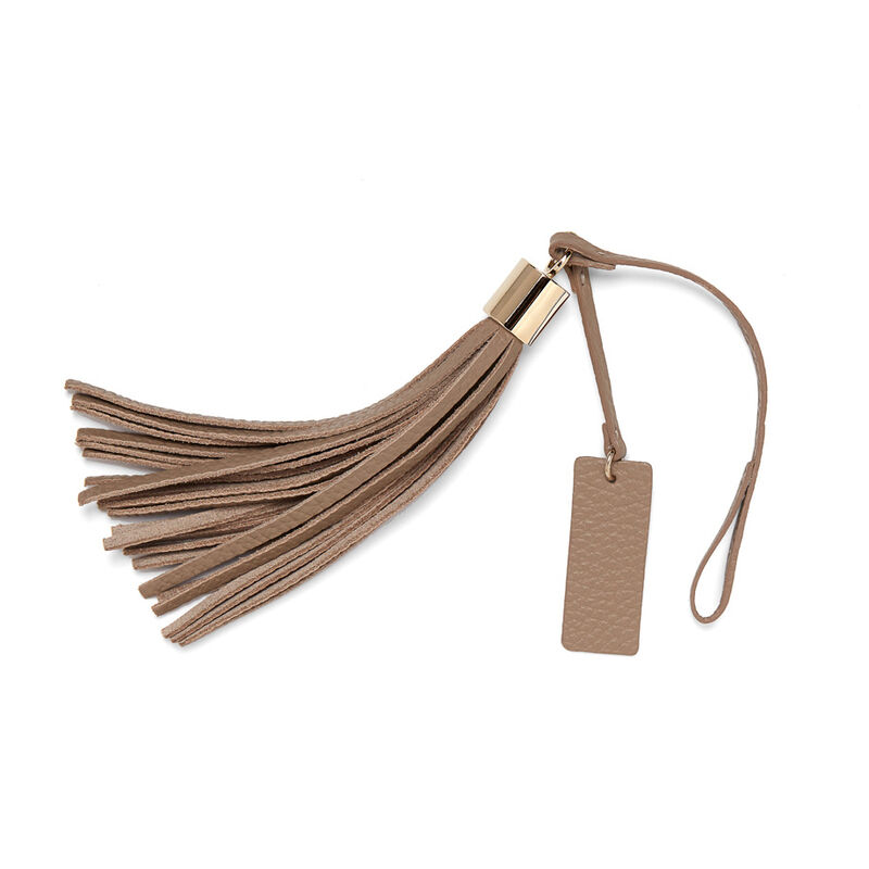 Leather Bag Tassel in Stone