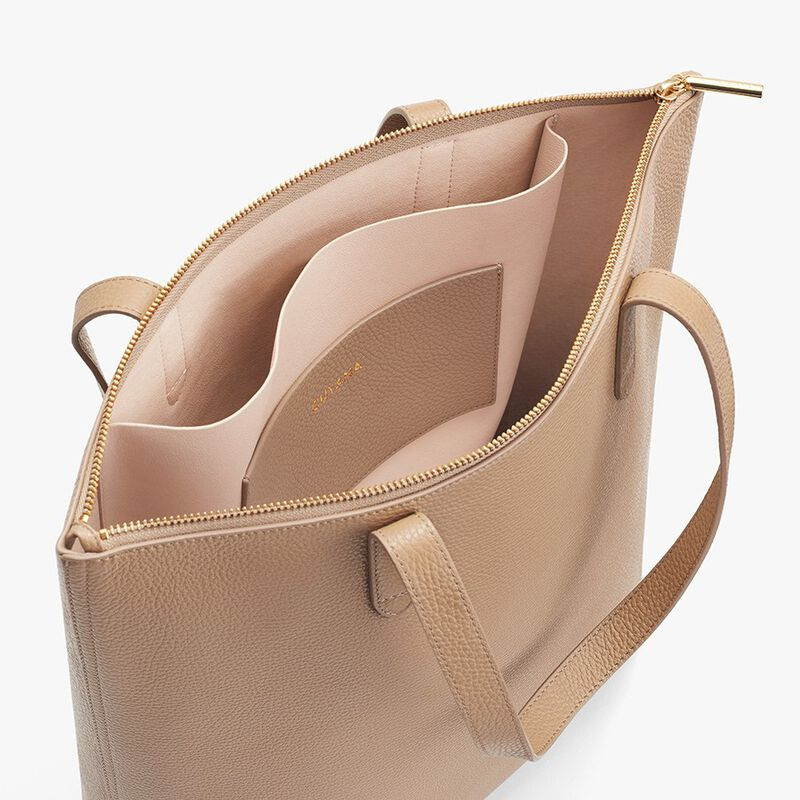 Tall Structured Leather Zipper Tote in Cappuccino