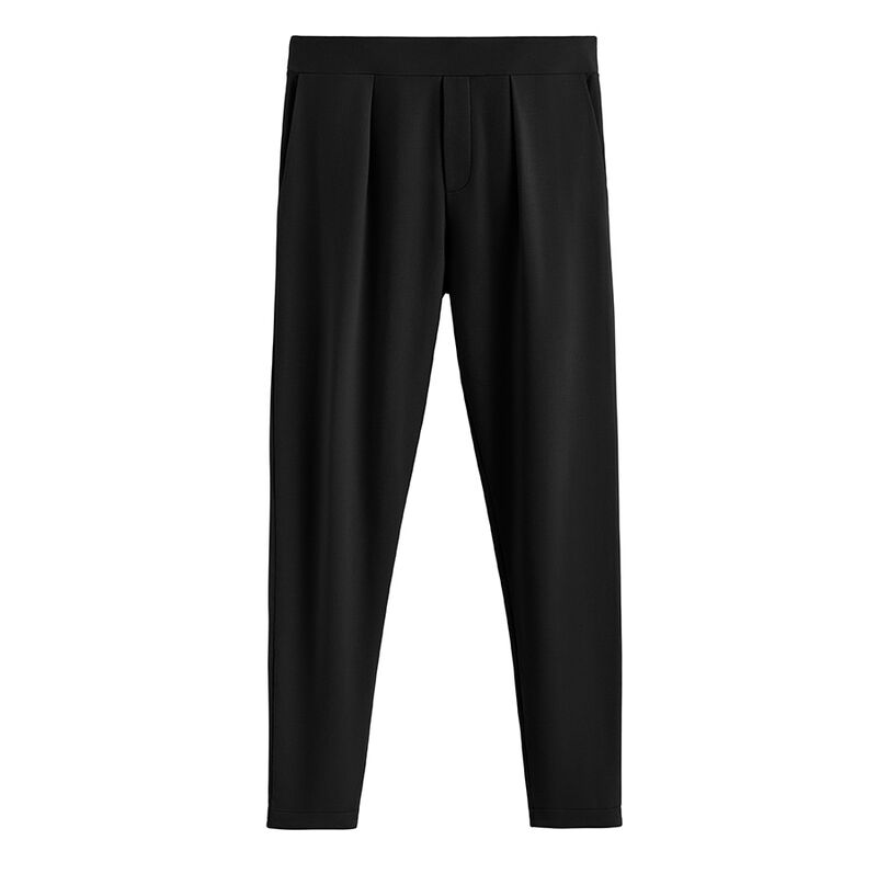 French Terry Pleated Front Pant in Black