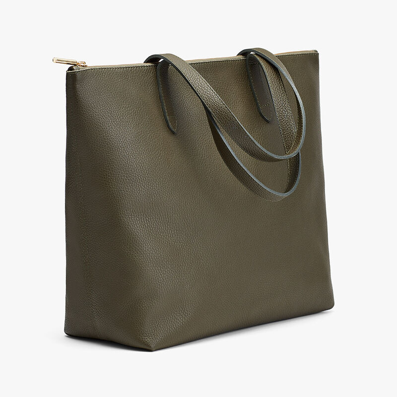 Classic Leather Zipper Tote, Dark Olive, large
