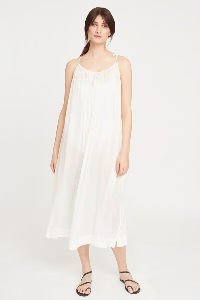 Gathered-Neck Maxi Coverup in White