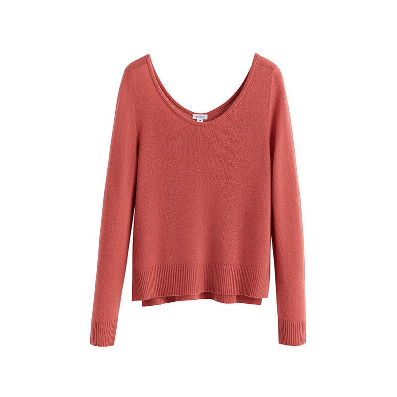 Single-Origin Cashmere Scoop Neck Sweater in Passion Fruit
