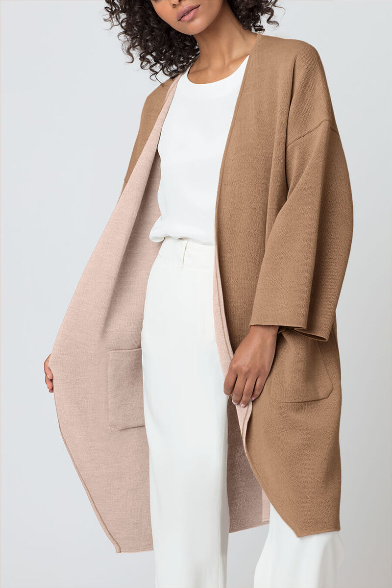 Lightweight Reversible Knitted Coat in Blush/Camel