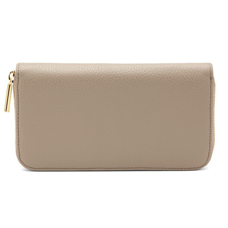 Classic Zip Around Wallet in Stone/Red