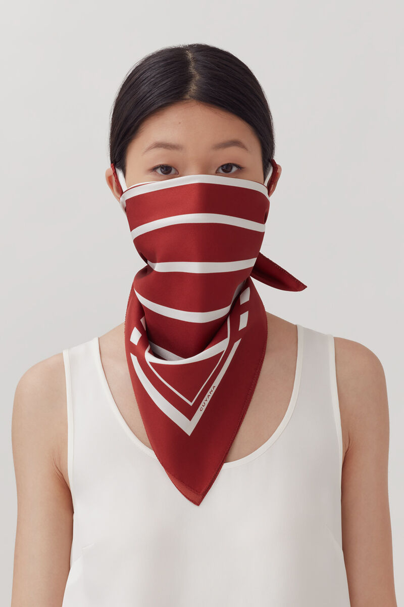 Washable Silk Bandana in Rust/White