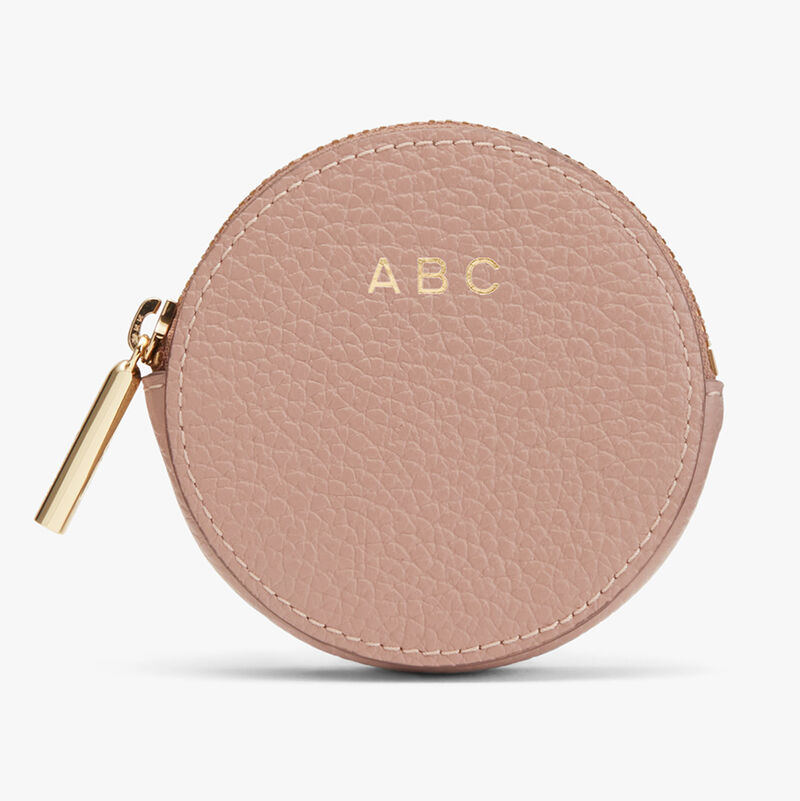 Leather Coin Pouch in Soft Rose