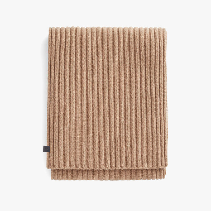 Men's Wool Cashmere Ribbed Scarf in Camel