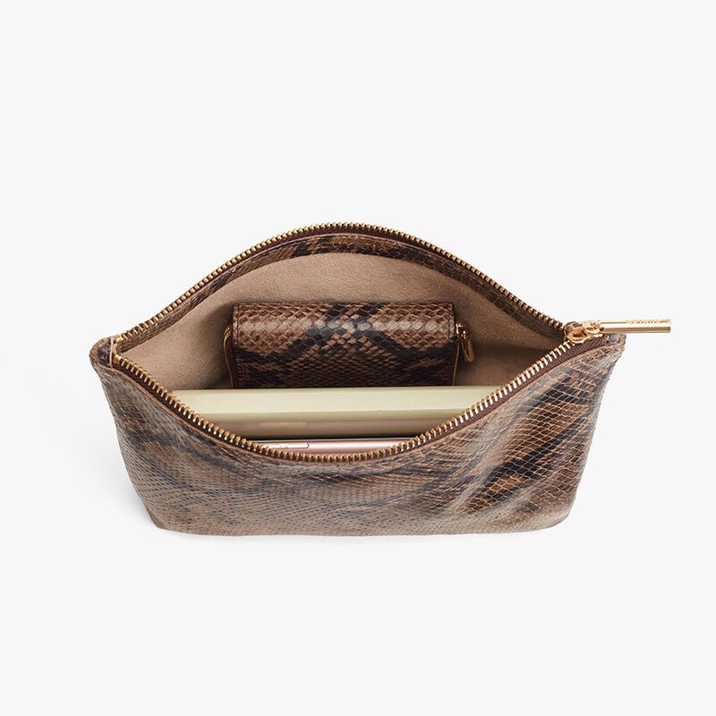 Small Leather Zipper Pouch in Brown Snake