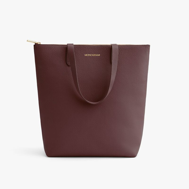 Tall Structured Leather Zipper Tote in Burgundy
