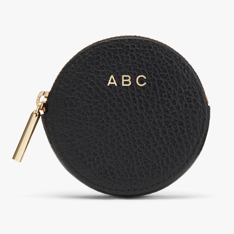 Leather Coin Pouch in Black