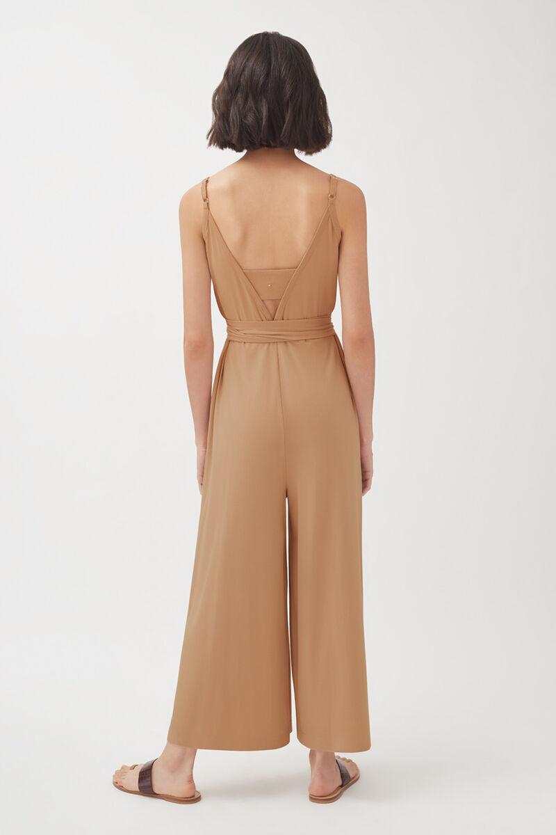 V-Back Jumpsuit, Camel, large