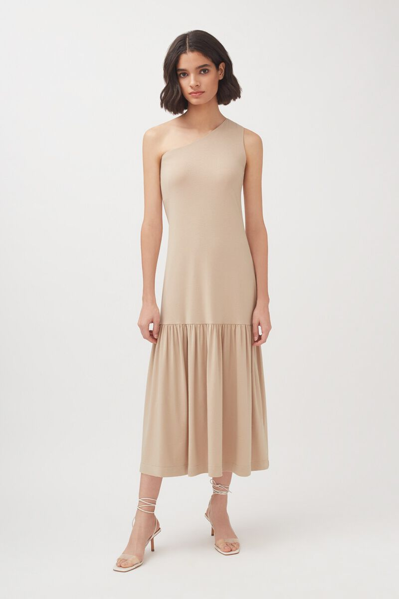 One-Shoulder Dress in Dune