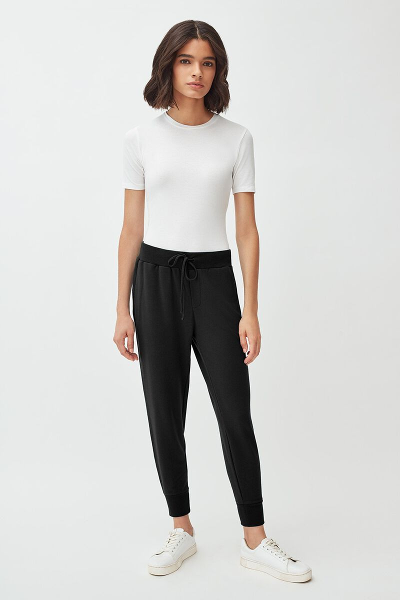French Terry Tapered Lounge Pant in Black