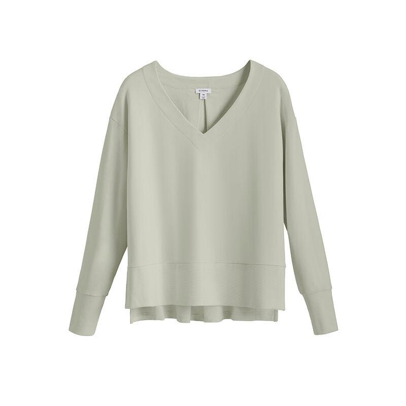 French Terry V-Neck Sweatshirt, Sage, large