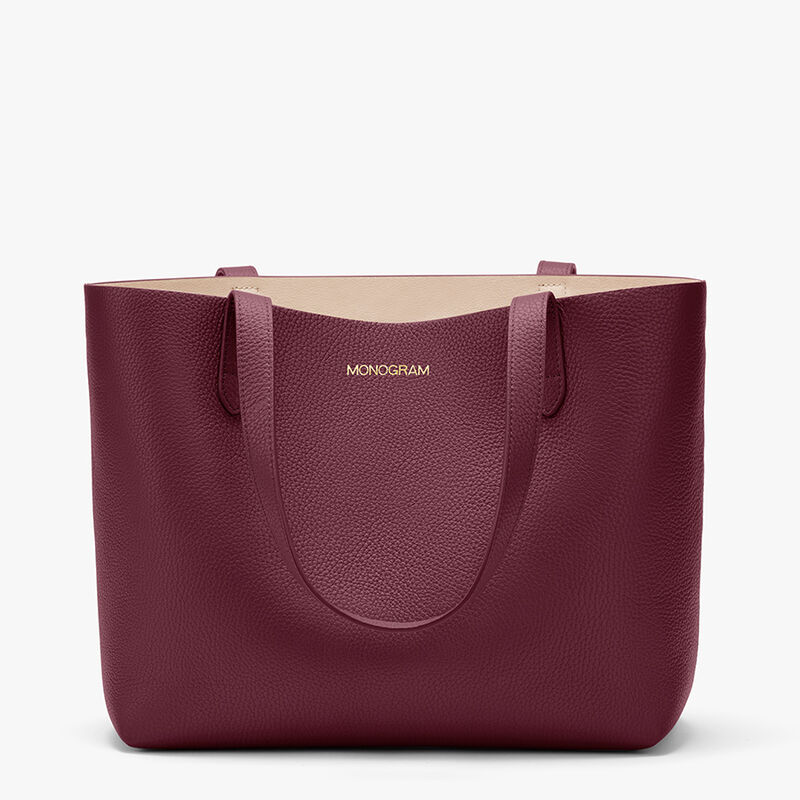 Small Structured Leather Tote in Merlot/Blush
