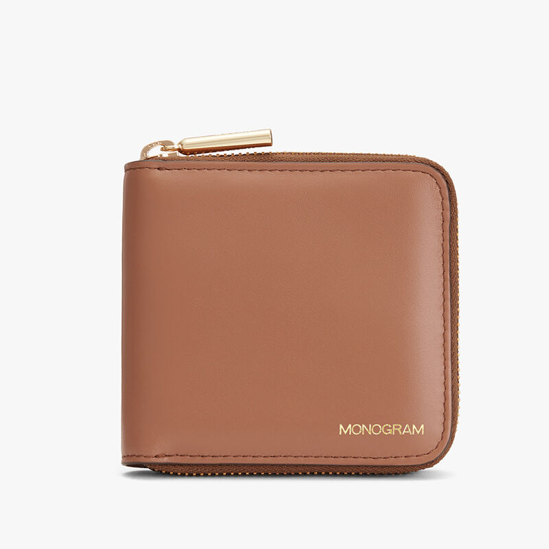 Small Classic Zip Around Wallet in Caramel