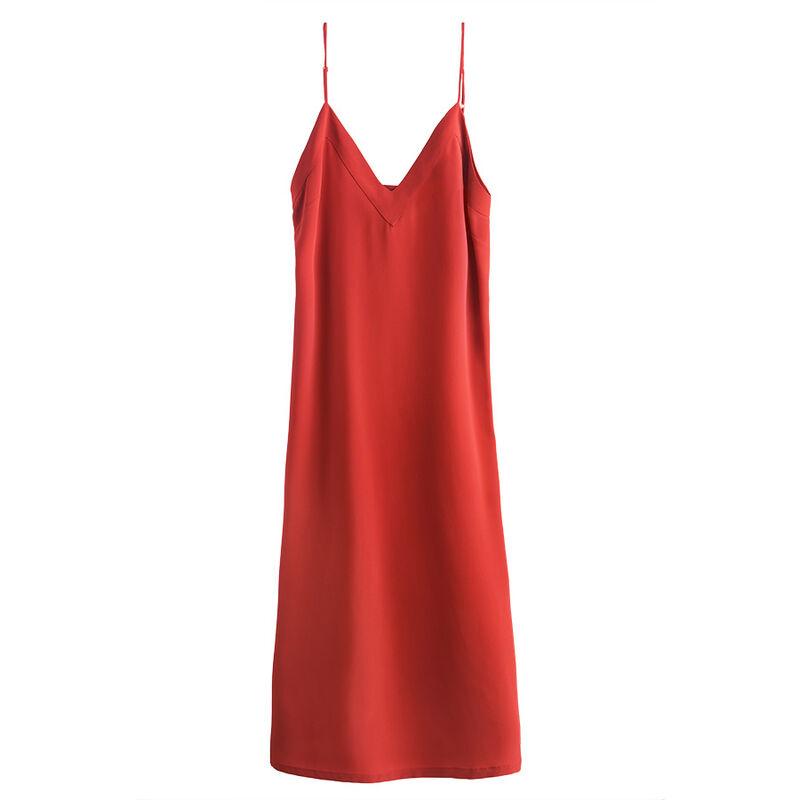 Silk Slip Dress, Blood Orange, large