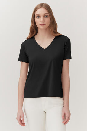 Pima V-Neck Tee in Black