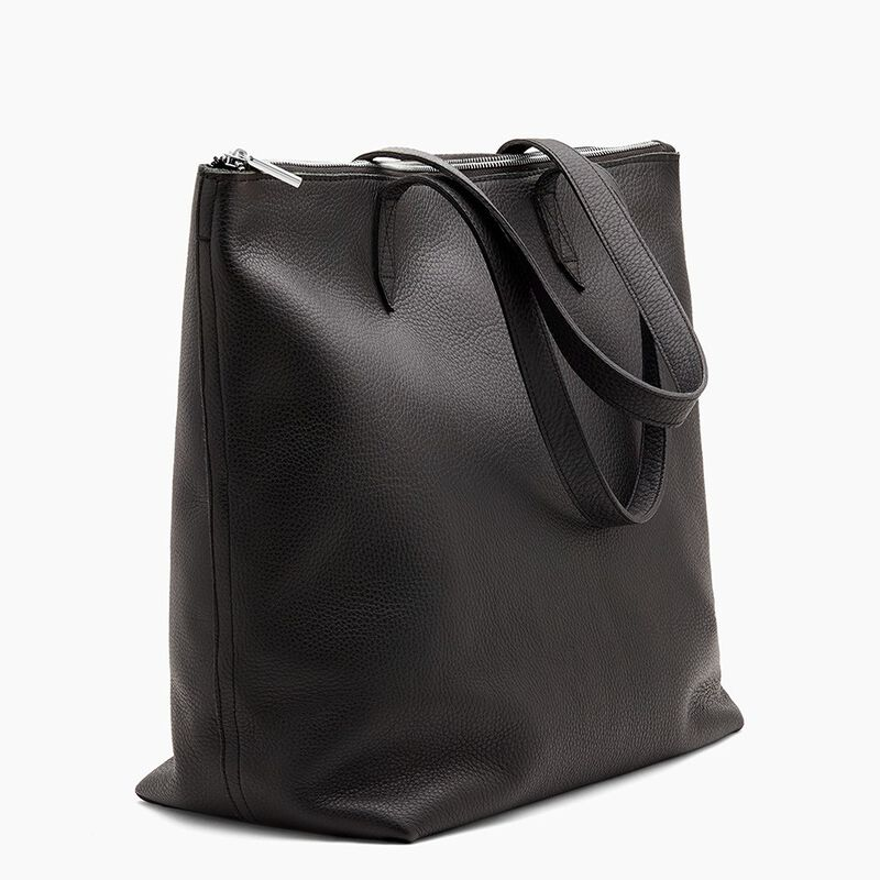 Classic Leather Zipper Tote in Black/Silver