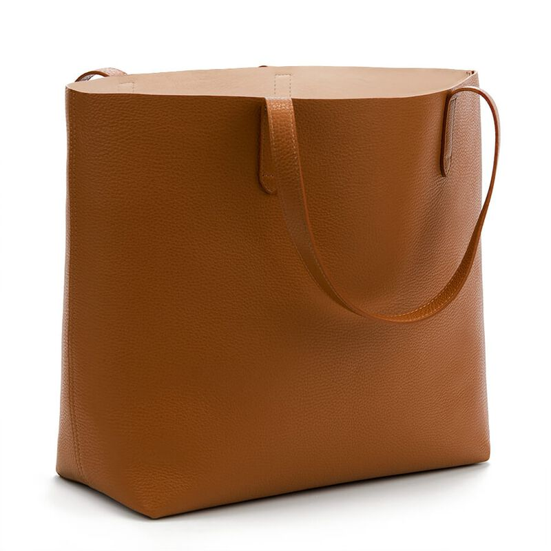 Classic Structured Leather Tote in Caramel/Blush