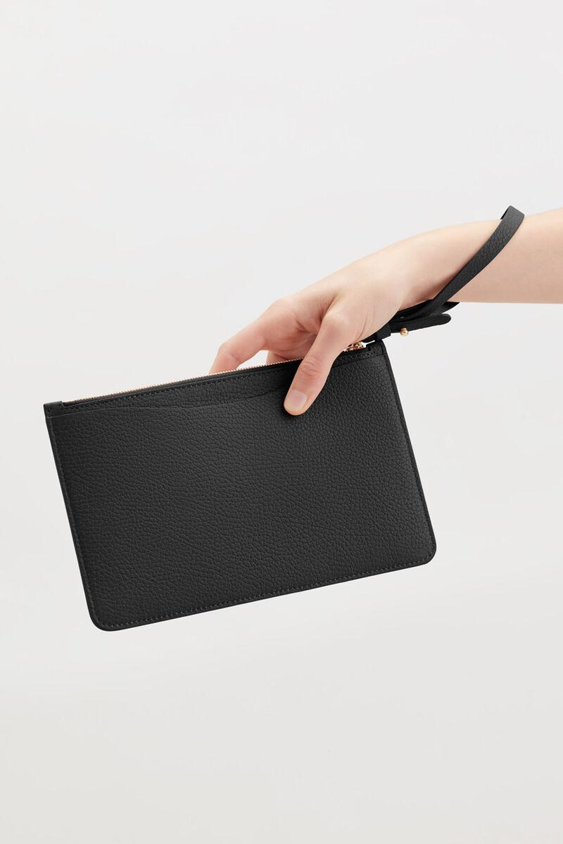 Slim Wristlet Wallet in Black Pebbled