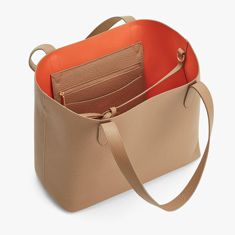 Small Structured Leather Tote in Cappuccino/Orange