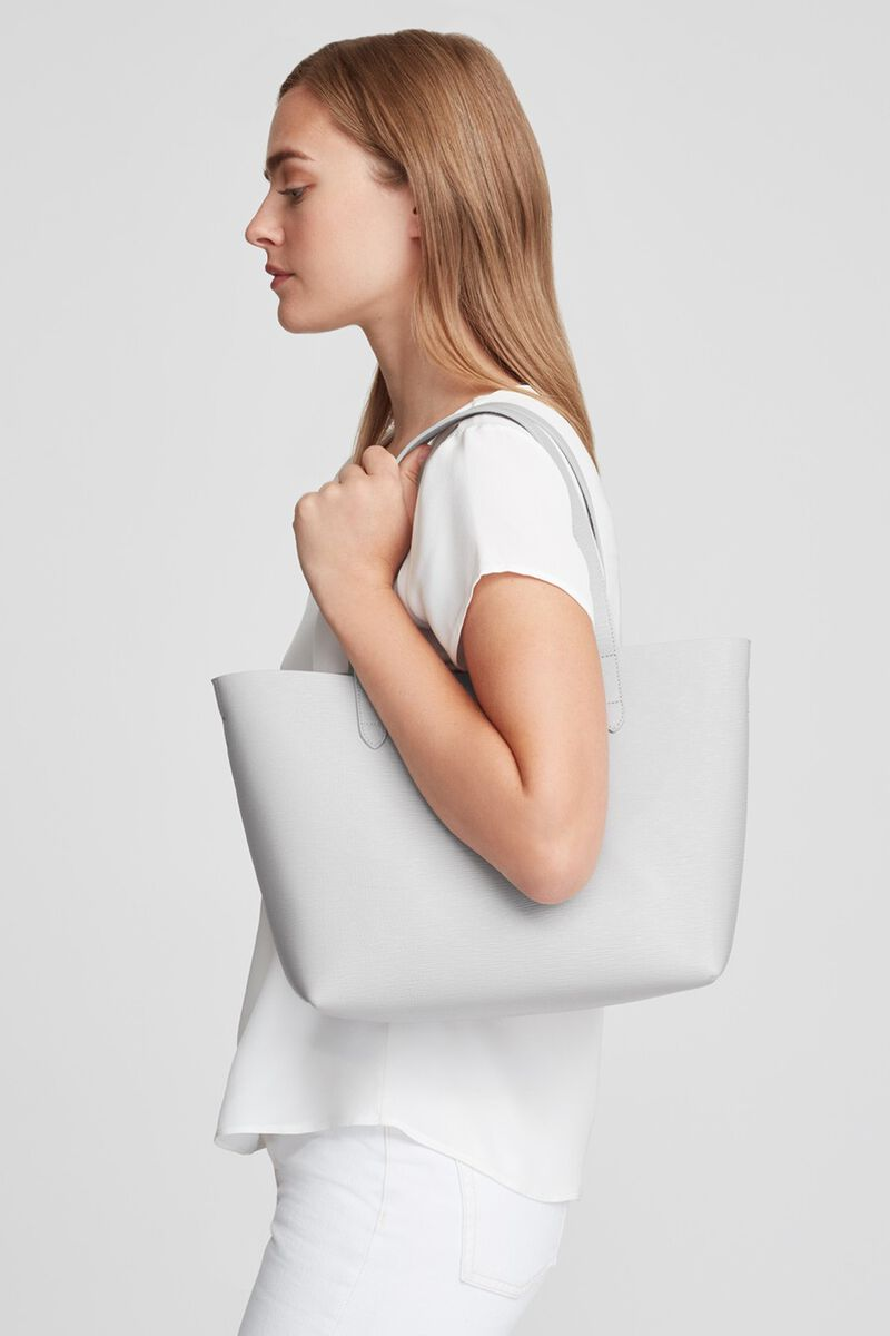Small Structured Leather Tote in Perla/Blush