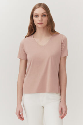 Pima V-Neck Tee in Soft Rose