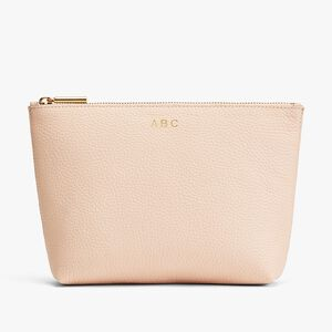 Small Leather Zipper Pouch, Blush, mono-gallery
