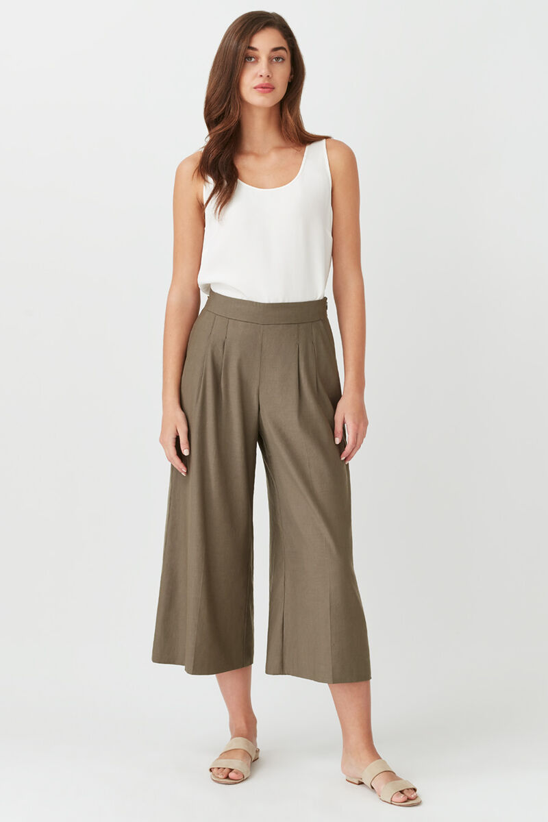 Linen Wide-Leg Cropped Pant in Olive