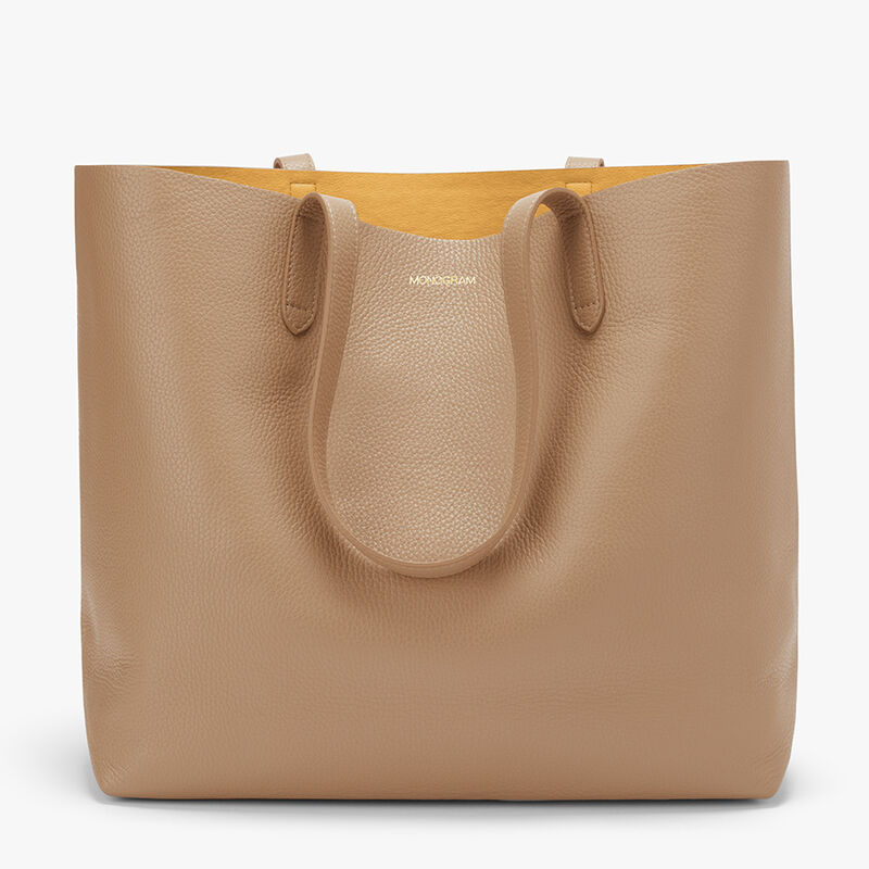 Classic Structured Leather Tote, Cappuccino/Yellow (Limited Edition), large